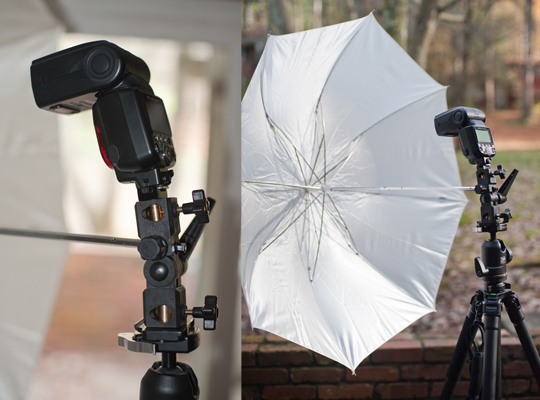 Umbrella bracket mounted to the camera plate